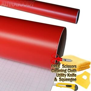 """36/"""" x 60/"""" In Matte Flat Red Vinyl Wrap Film Car Decal Bubble Free Air Release"""