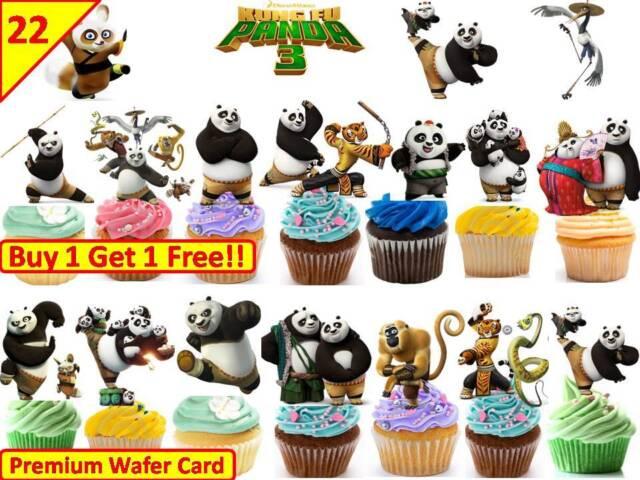 Peachy 44 Kung Fu Panda Birthday Cup Cake Fairy Edible Wafer Rice Toppers Funny Birthday Cards Online Elaedamsfinfo