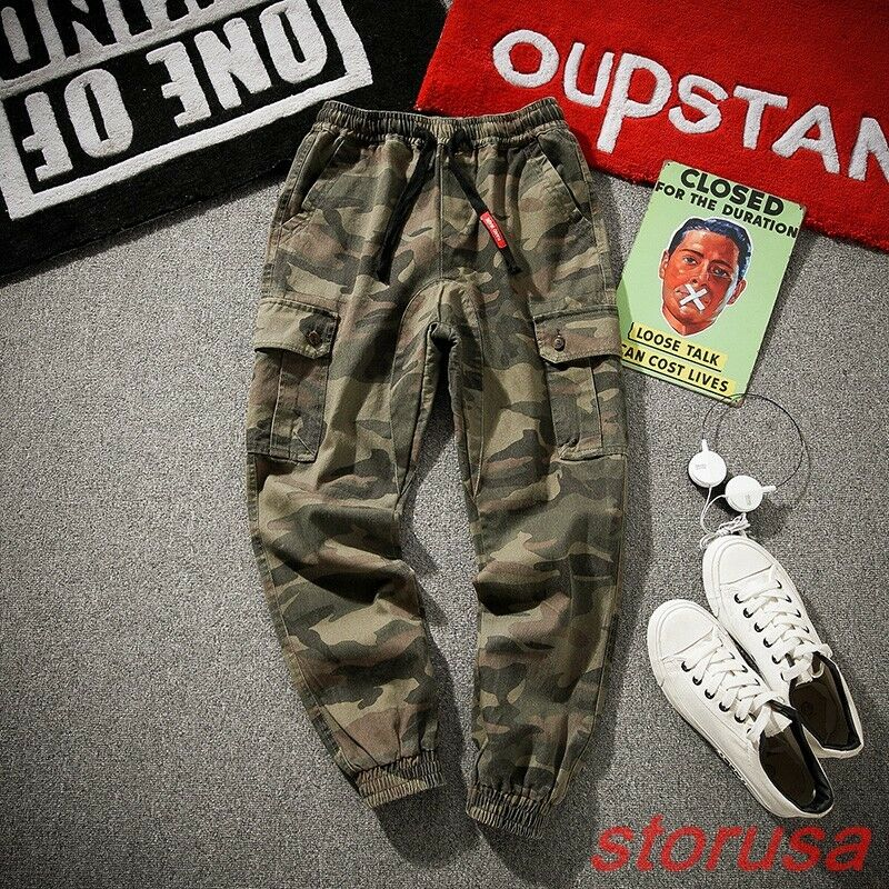 Mens camouflage Loose Fit Drop Credch Hip Pop Casual Pants Cotton Cargo Trousers