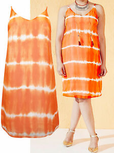 NEW-ex-Simply-Be-ORANGE-V-Neck-Tie-Dye-Cami-Dress-Shift-Dress-Sizes-14-16-24-26