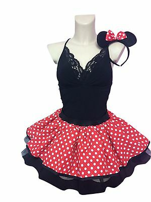 Minnie Mouse Red Tutu White Polka Dots 80's Fancy Dress All Lengths Size 10 - 28