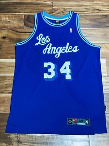 Details about NWT Los Angeles Lakers Shaquille O'Neal HWC Blue Throwback Authentic Jersey 48