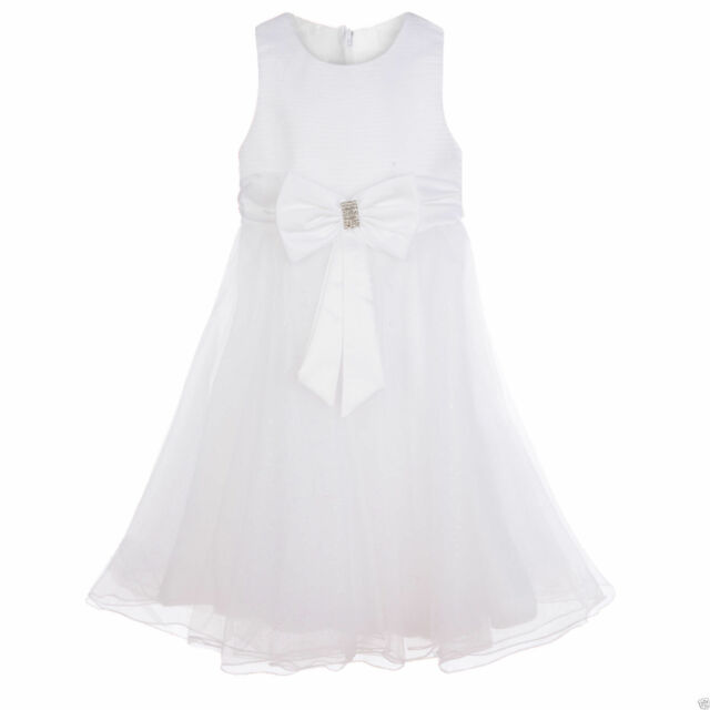 Girls White Flower Girl Dress Bridesmaid Dress Christening Prom Queen Age 2-16 Y