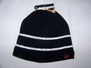45c652d03c17ca Image is loading Tough-Duck-Beanie-Toque-Vintage-Black-Reflective-Stripes-