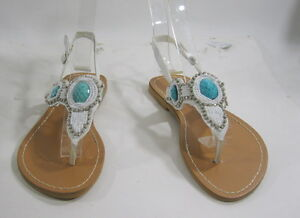 d05cd9d5573927 Image is loading Summer-White-Turquoise-Rhinestone-Sexy-Cool-Shoes-Sandals-