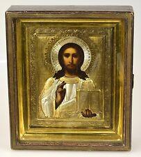 Alte Original Ikone 84 Silber vergoldet Jesus Christus Oklad Gold Kiot 1911 J.