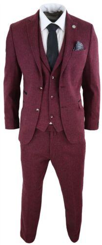 tweed Wine laine Classic coupe Peaky bourgogne 3 en pièces noir Costume ajustée Blinders wqB71Ix