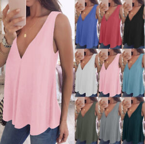 cd39b1e359d87a UK Womens Ladies Summer Vest Top Sleeveless Blouse Casual Tank Tops ...