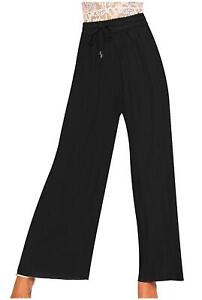 Womens Ladies Flared Pleated Crinkle Belted Plain Wide Leg Palazzo Trousers Pant