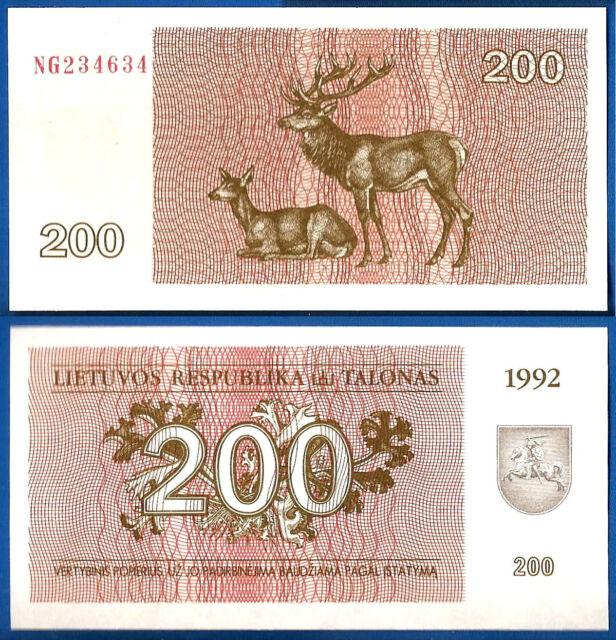 Lithuania 200 Talonas 1992 UNC Animal Litu Free Shipping World Ppal