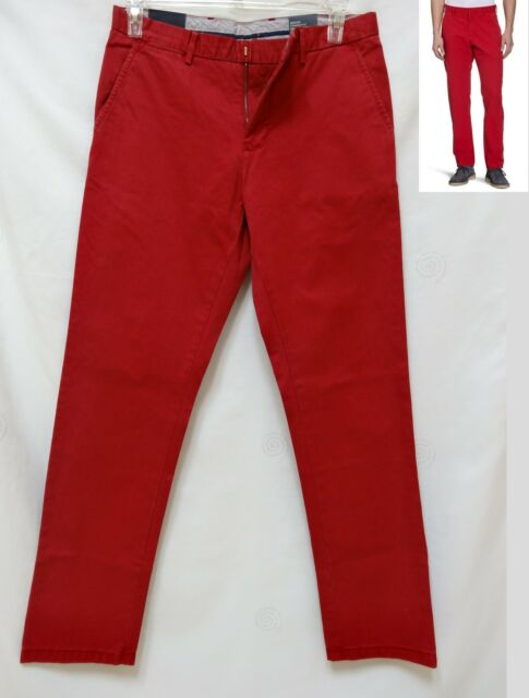 af88b645 Tommy Hilfiger mens MERCER flag red chino twill straight fit pants 32 33 NEW