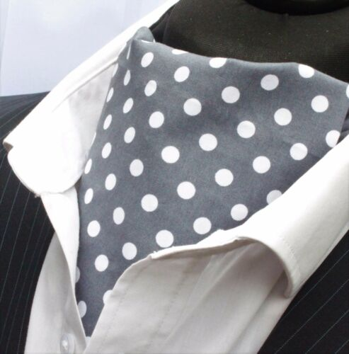 Cravat /& Hanky.Premium Cotton. Cravat Ascot UK Made Slate Grey //White Polka Dot