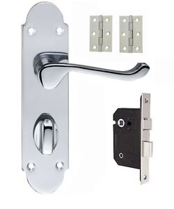 Epsom Bathroom door handle in polished Chrome Lock and Hinges included 63mm or 7