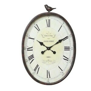 Details about Metal Bird Oval Wall Clock Hanging Roman Numeral Slight  Ticking Sound Home Decor