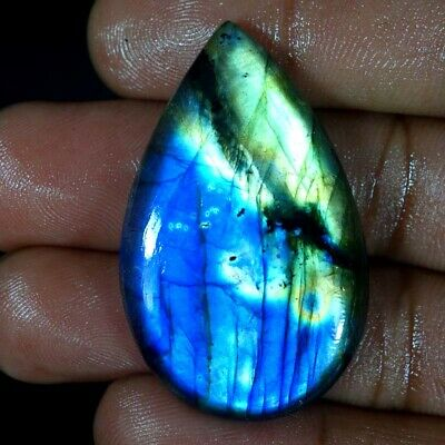 Natural Blue Fire Spectrolite Labradorite Pear Shape Cabochon Loose Gemstone