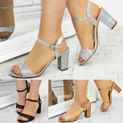 Ladies Womens Low Block Heel Party Bridal Glitter Sandals Wedding Prom Shoes Sz | eBay