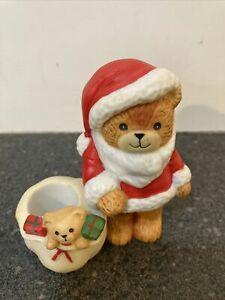 New Vintage 1981 Enesco Lucy Rigg & Me Santa & Teddy Bear Bag Candle Holder