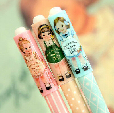 3 x Sweet Vintage Girl Fine Point pens Party Kids novelty Kawaii fun lovely