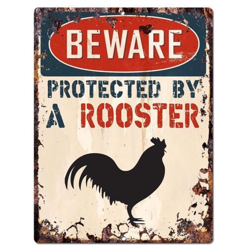 Méfiez-vous protégé par un coq Metal Tin Signs Poster Pub Bar Art Mural