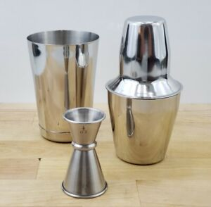 3 Piece Cheater Tin Boston BAR COCKTAIL SHAKER Stainless Steel Mini Mixing Set