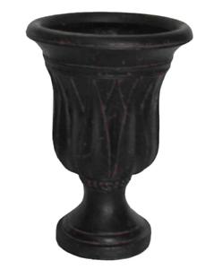 Fiberglass Urn Planter Black Indoor Outdoor Lightweight Drainage Holes 21-In