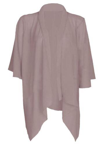 NUOVO Donne Ragazze Maglia A Cascata Chiffon Kimono Cardigan Aperto Manica 3//4 UK 8-26