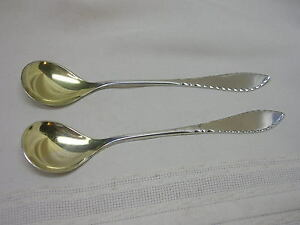 2-Antique-David-Andersen-Norway-830-Sterling-Silver-Condiment-Spoons-Gold-Wash