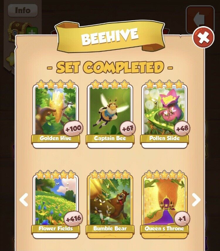 Beehive Full Set :- Coin Master Cards ( Fastest Delivery )