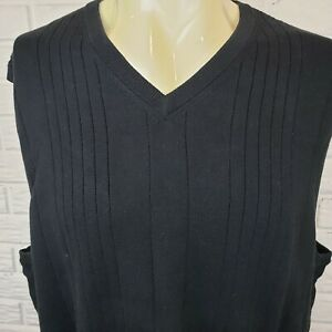 NEW-Greg-Norman-V-Neck-Pullover-Mens-XL-Tall-Ribbed-Black-Sweater-Vest-Cotton