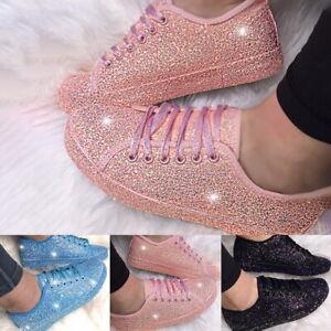 Ladies Glitter Sneakers Womens Flats