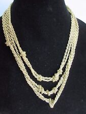 """Multi-Strand Linked Knotted Chain Necklace 18"""" Authentic AMRITA SINGH Gold-Tone"""