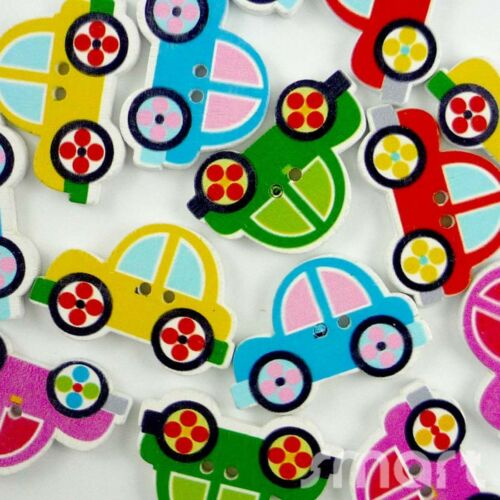 20//100pcs Mixed voitures Bois Bouton//Flatback LOT 30x20mm Craft embellir cartes