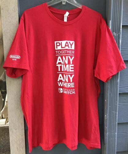 2018 Nintendo Switch Logo T-shirt Sz 3XL Red Play
