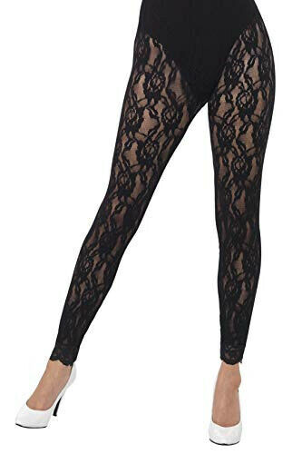 Smiffys 44512 80s Adult Black Lace Leggings One Size Fits Most