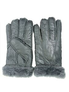 Women-039-s-Genuine-Sheepskin-Grey-Warm-Leather-Shearling-Fur-Gloves