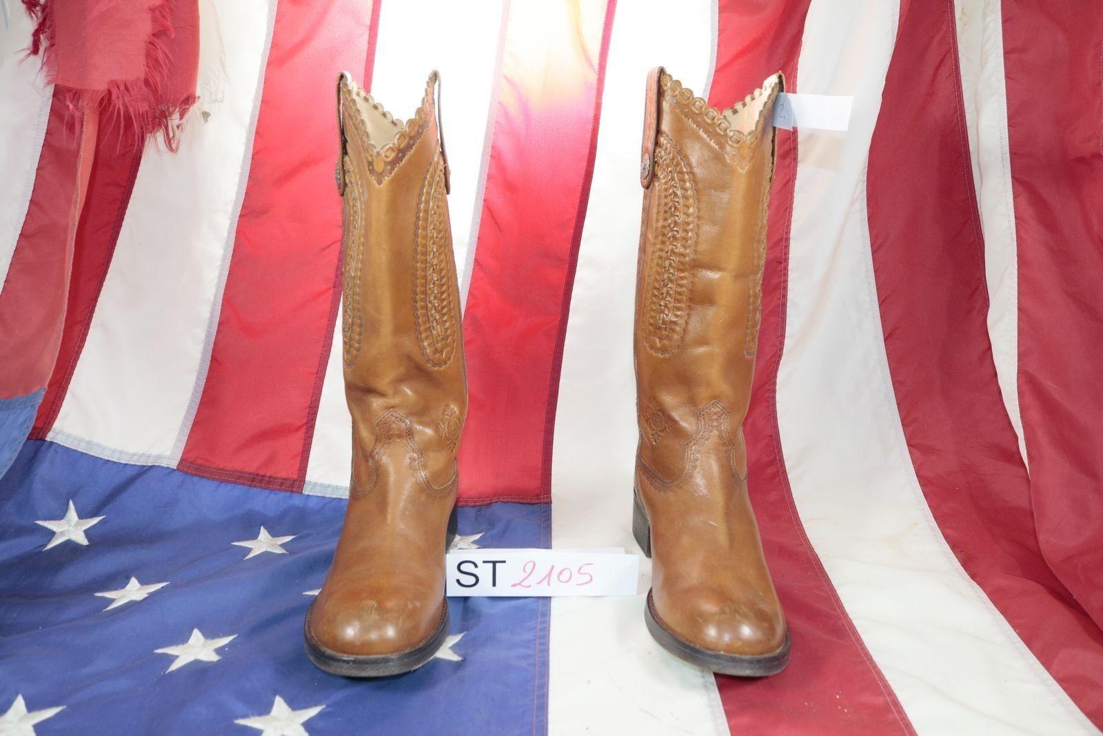Stiefel Ash ( Cod. St2105) Gebraucht N.39 Frau Braunes Leder Cowboy Texaner