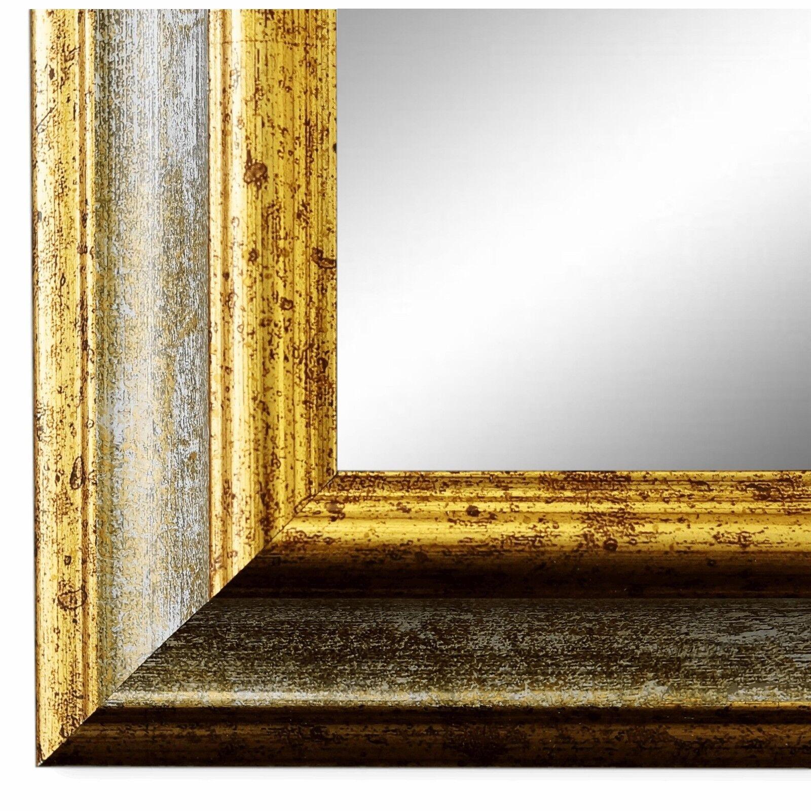 Wandspiegel Spiegel Grau Gold Vintage Retro Holz Bari 4,4 - NEU alle Größen
