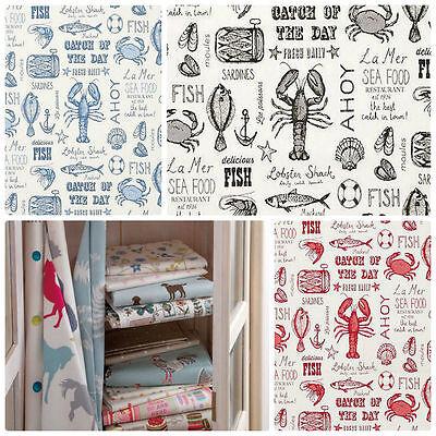 Instancabile Clarke And Clarke Studio G Sketchbook Frutti Di Mare Collezione Di Tessuto Per Tende-