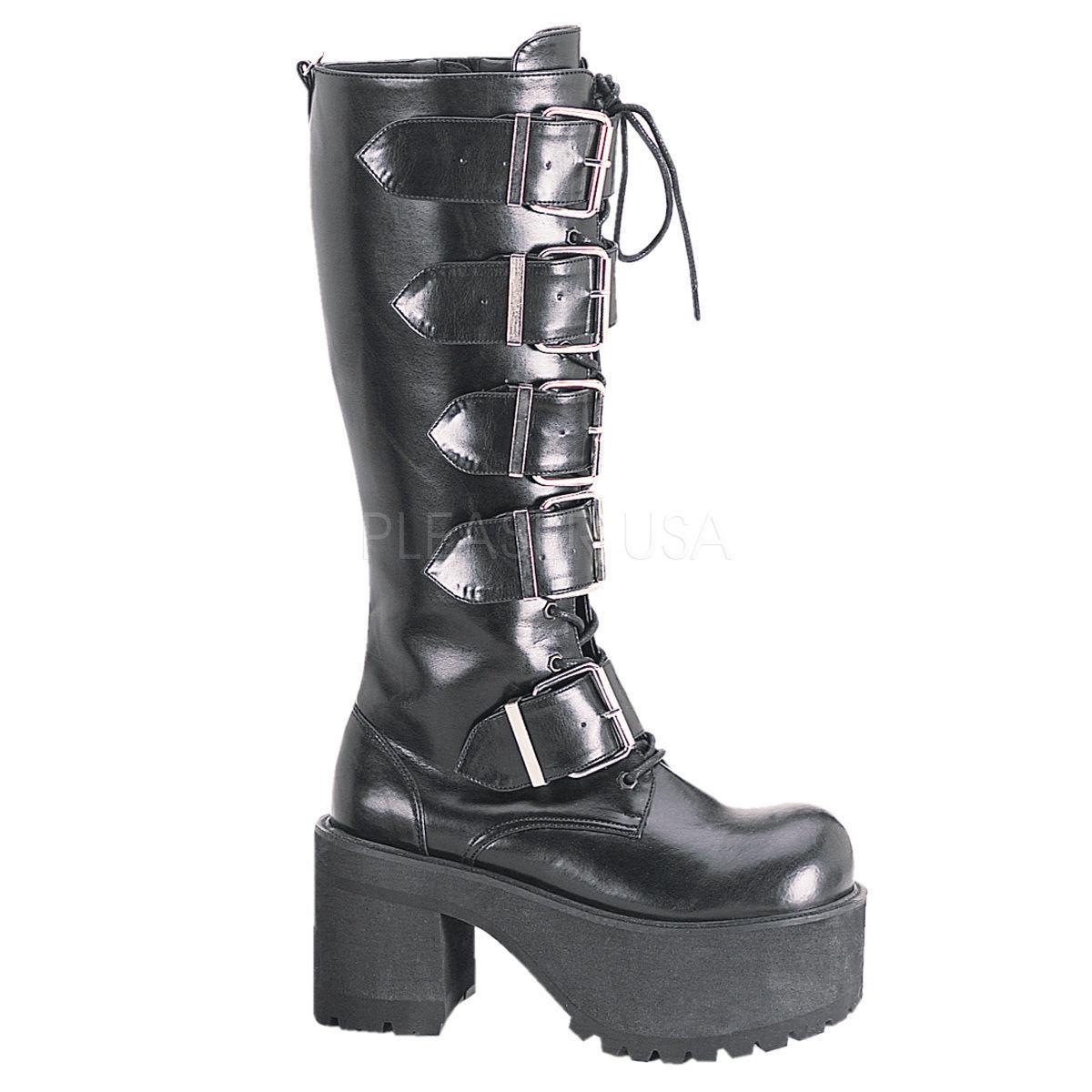 Demonia RANGER 318 Donna Goth Punk Cosplay Stivali fibbie tacco piattaforma al ginocchio fibbie Stivali 39d558