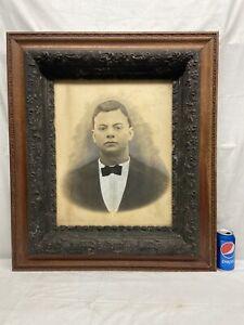 """Vtg Victorian Barbola Flower Wood LARGE Frame 20""""x16"""" Portrait Young Gentleman"""
