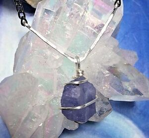 Details about TANZANITE NECKLACE! Handmade Genuine Raw Rough Stone Pendant  Jewelry SYNERGY 12!