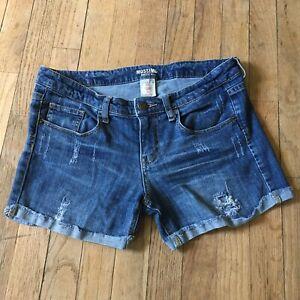 MOSSIMO-Jrs-Size-11-Distressed-Jean-Denim-Cutoff-Shorts-Raw-Hems-Mid-Rise