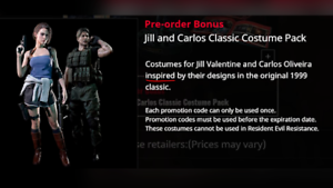 Resident Evil 3 Remake Ps4 Classic Costume Pack Preorder Dlc Code