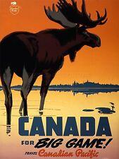 ART PRINT POSTER ADVERT TRAVEL TOURISM CANADA BIG GAME MOOSE LAKE TRAIN NOFL0519