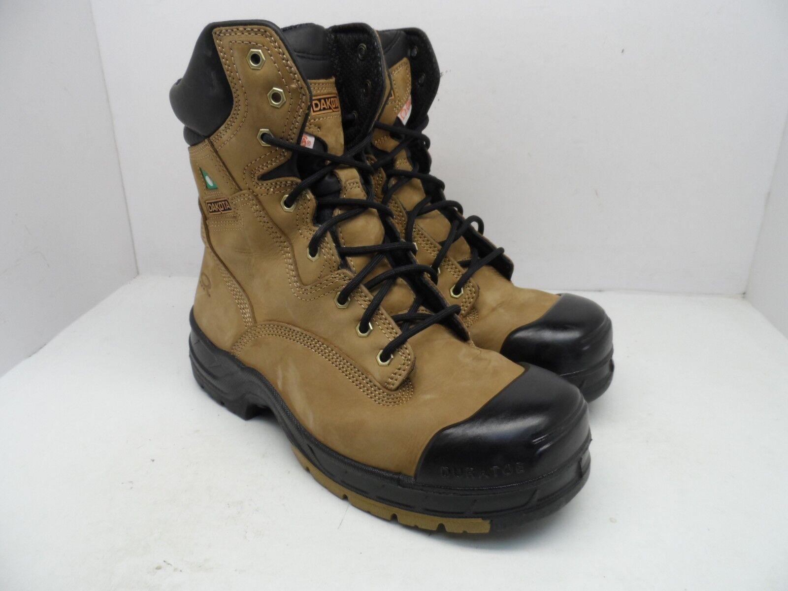 Dakota Men's 8  Quad Basic Steel Toe Composite Plate Work Boot Brown Size 10.5M