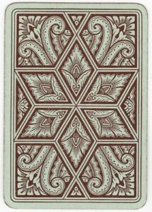 Playing-Cards-1-Single-Card-Old-Antique-Wide-GEOMETRIC-FLORAL-ART-LEAVES-Design