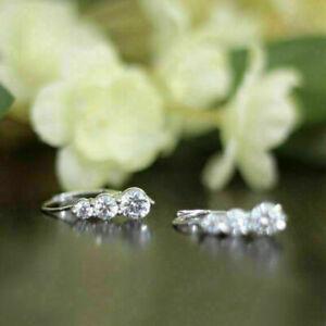 1-60Ct-Round-Cut-VVS1-Moissanite-Hugie-Hoop-Earrings-Solid-14K-White-Gold-Finish