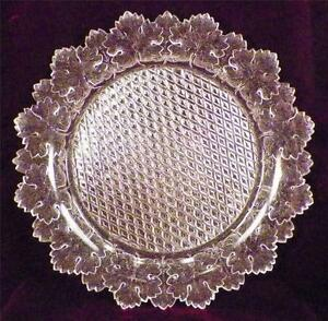 Maple-Leaf-Round-Plate-Gillinder-amp-Sons-1888-Early-American-Pattern-Glass-Clear