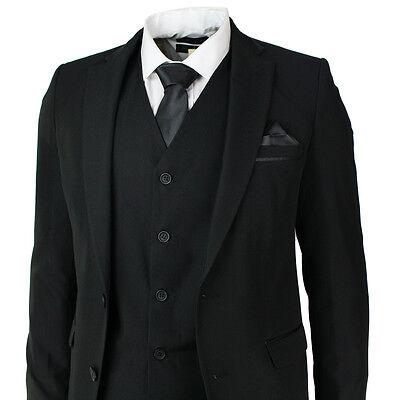 Mens Slim Fit Black Suit 5 Piece Satin Trim Wedding Prom Party Office