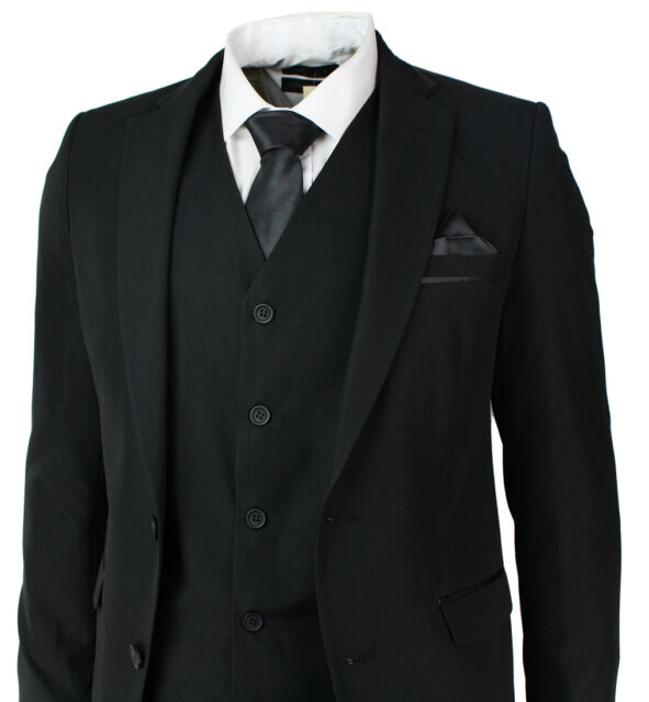 Mens Slim Fit Black Suit 5 Piece Satin Trim Wedding Prom Party Office